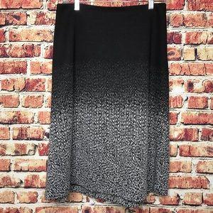 Carmen Marc Valvo Black White Ombré Sweater Skirt